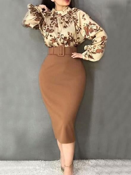 Round neck printed long sleeve top and skirt suit