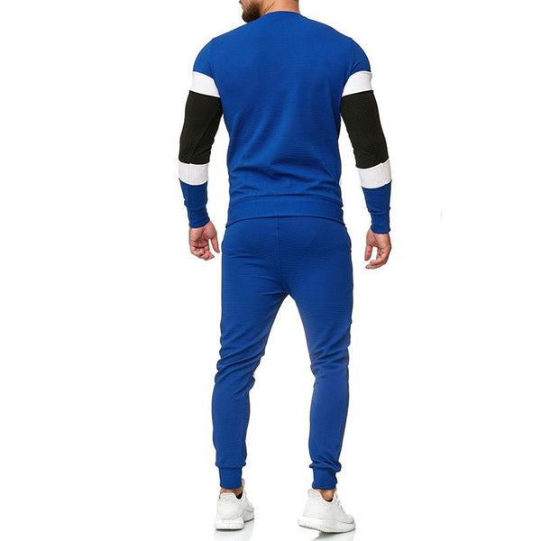 Men color joint round neck sport set