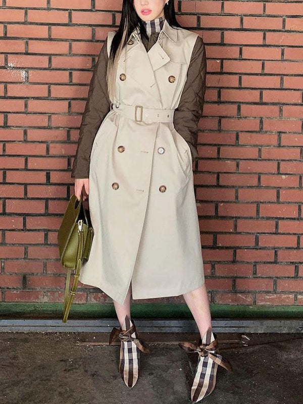 Sleeveless plain belted loose long coat