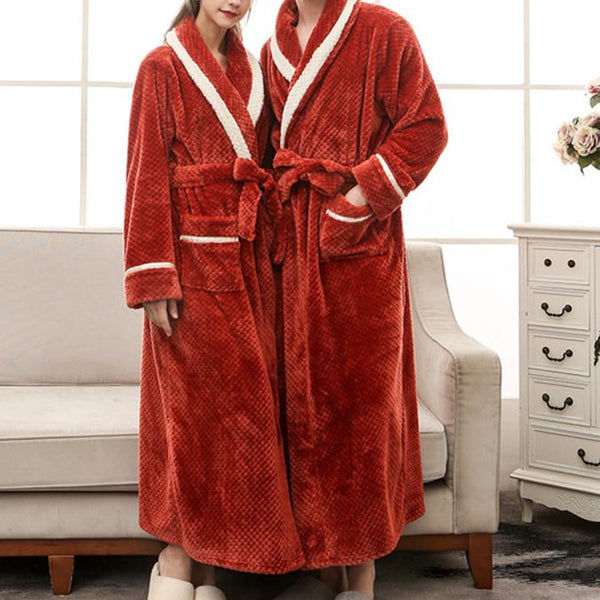 Loose keep warm color block pajamas suit