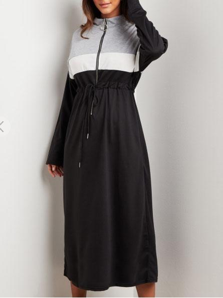 Color block defined waist loose maxi dress