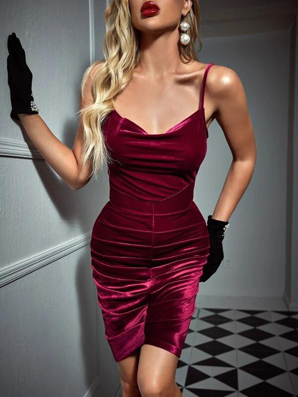 Sexy slim women rose red pleated braces dress