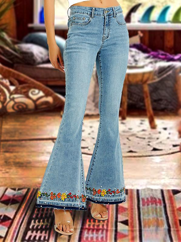 Fashion floral embroidery slim flared pants