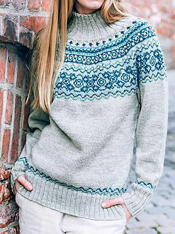 High neck color block knit sweater