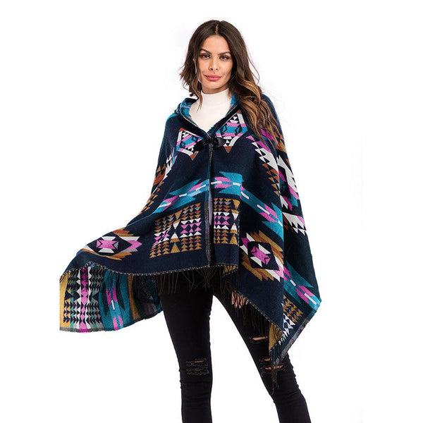Geometric pattern tassel knitted shawl cardigan coat