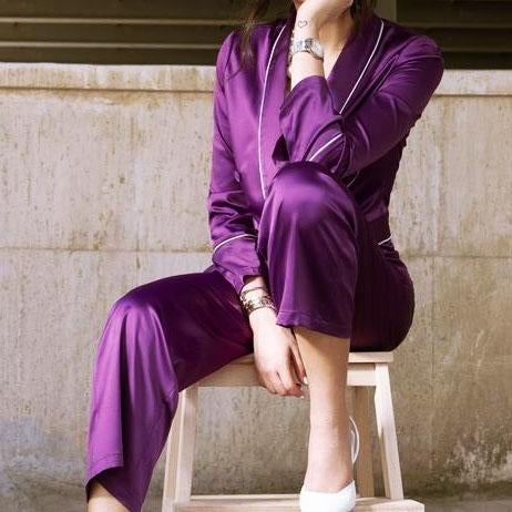 Purple plain coat anf pants two piece suit