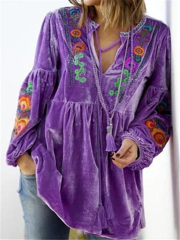 2020 floral embroidery loose long sleeve top
