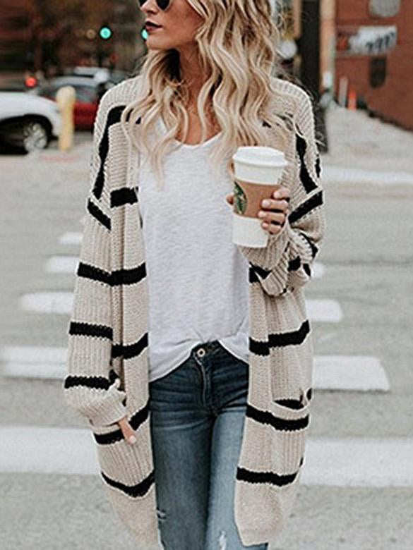 2020 striped knit sweater cardigan coat