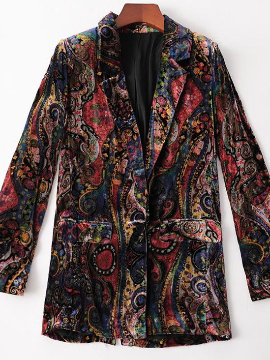 Retro printed lapel women velvet coat