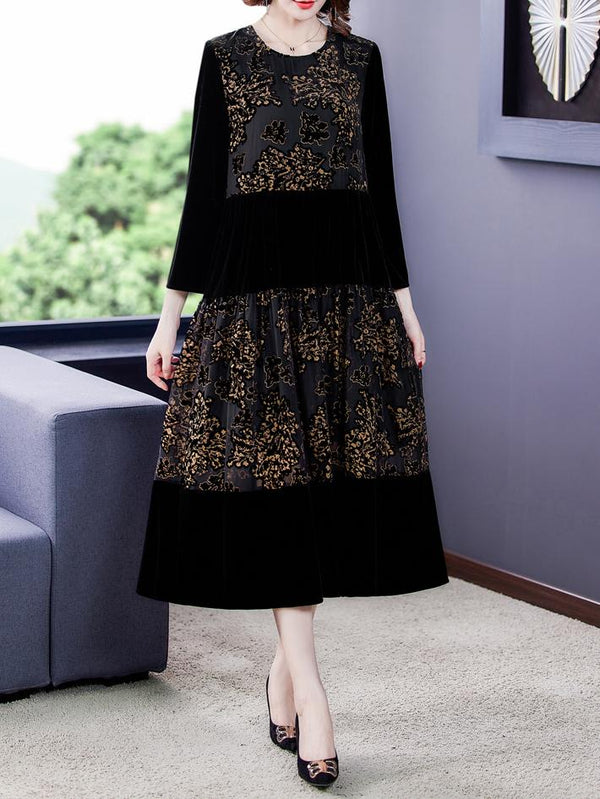 Black women velvet retro jacquard joint loose dress