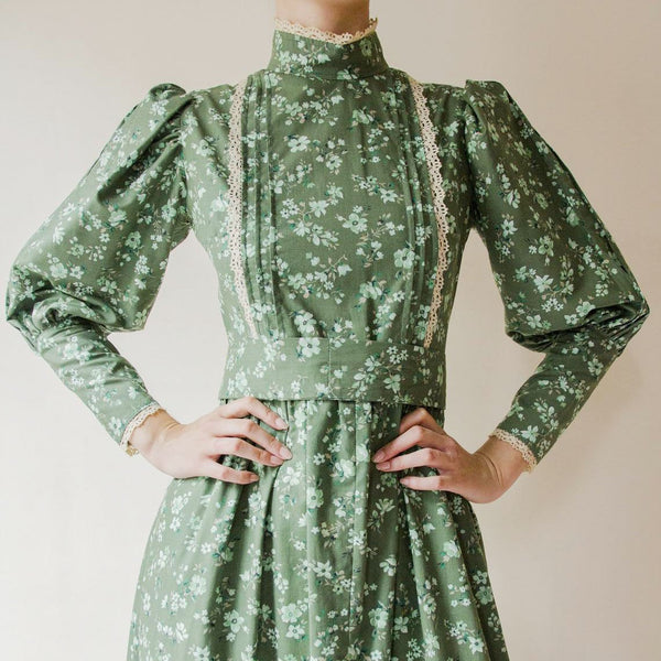 Palace style green floral printed maxi dress