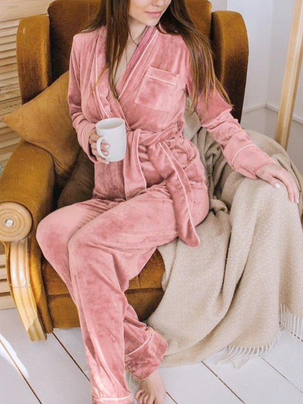 Thicken plain cardigan and pants pajamas suit