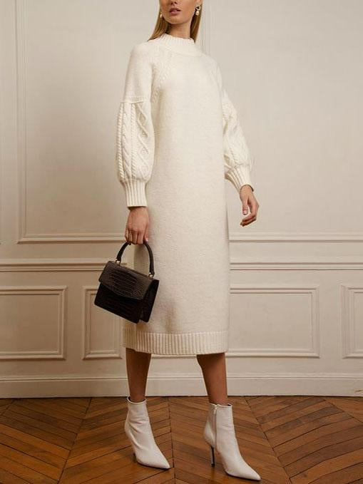 Round neck plain sweater dress