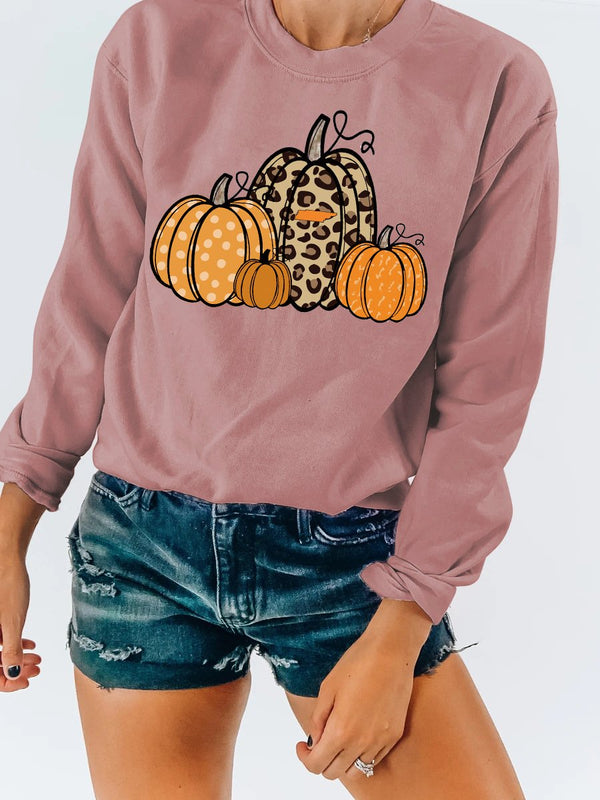Halloween little pumpkin printed long sleeve top