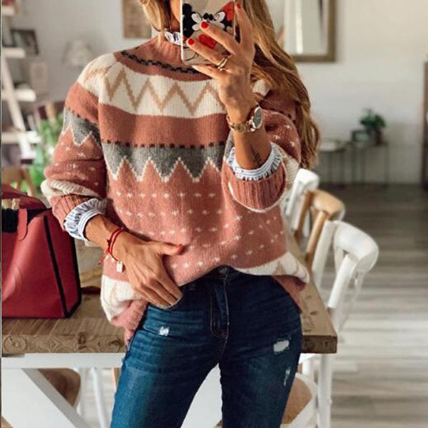 Retro Round neck color block  knit sweater