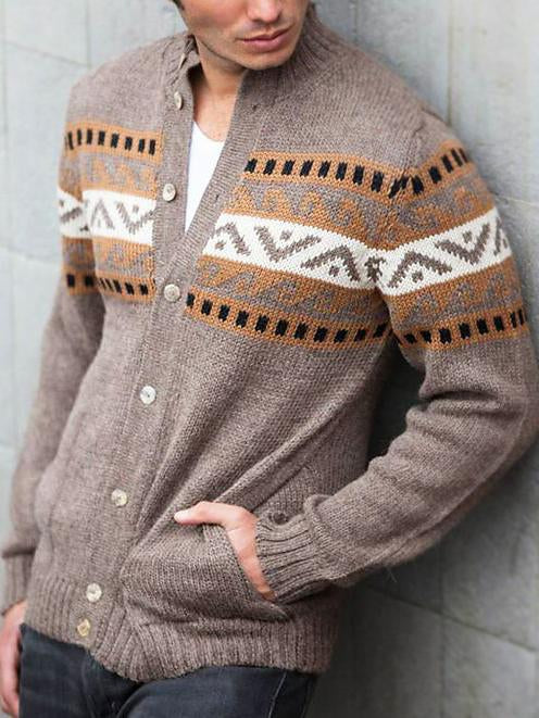 Men round neck printed knit sweater