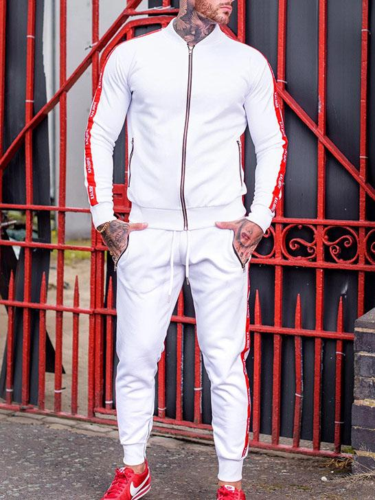 Men slim fit sport suit with zipper