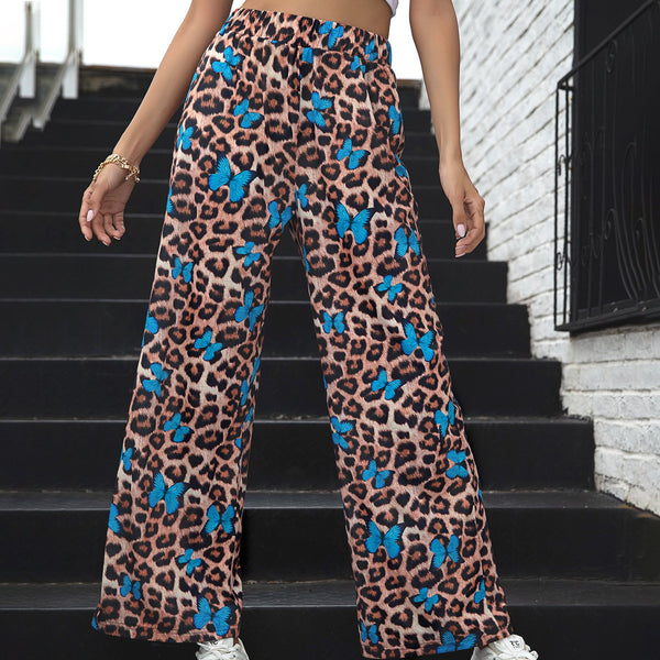Leopard&blue butterfly women printed straight pants