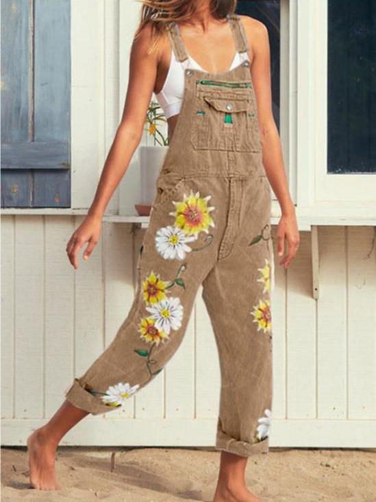 Multi-color flowers printed women pure color suspender trousers