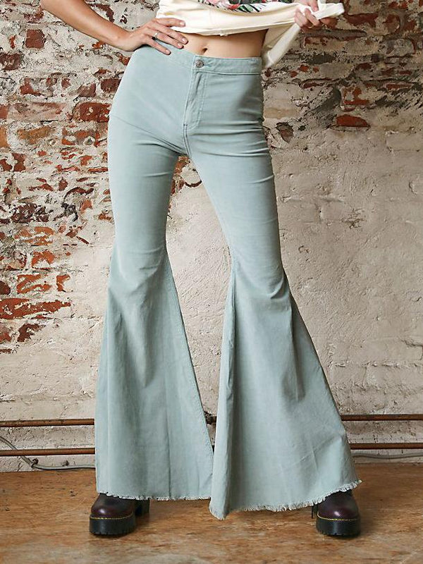 Chic plain slim light green flared pants