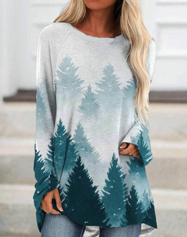 Round neck loose forest printed long sleeve shirt