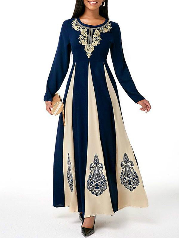 Color joint round neck women retro printed long sleeve dress