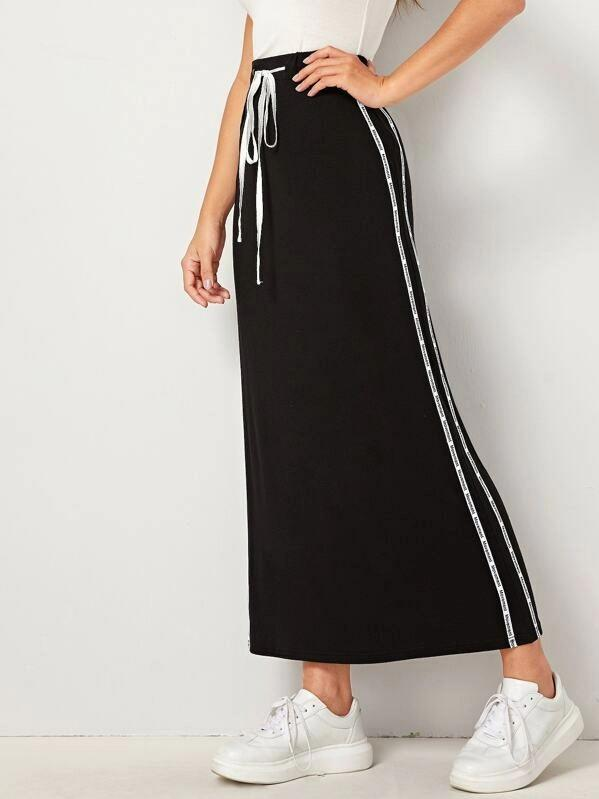 Color block elastic waist loose skirt