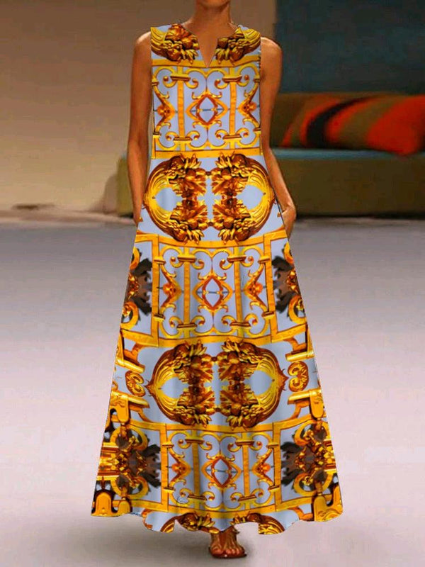 Loose retro printed sleeveless fashion summer dress
