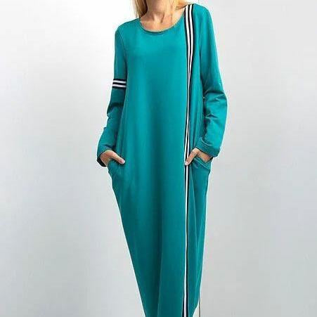 Green round neck color block maxi dress