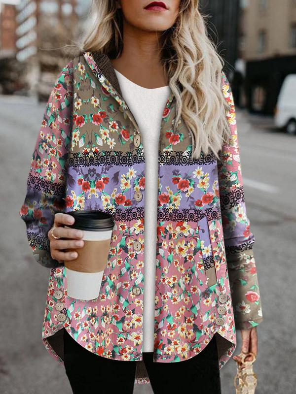 Winter color block printed keep warm coat