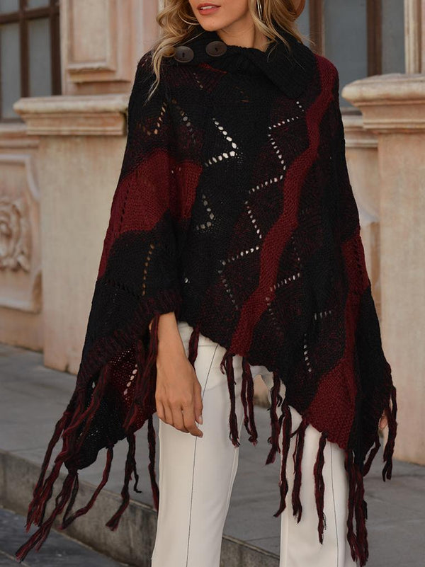 Striped sleeveless tassel long loose  Cape sweater