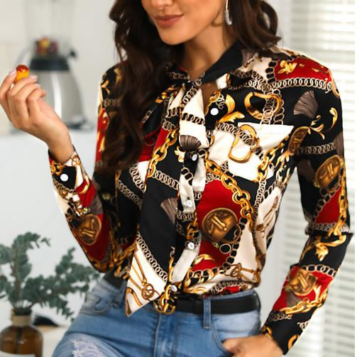 Autumn women printed long sleeve chain pattern shirt