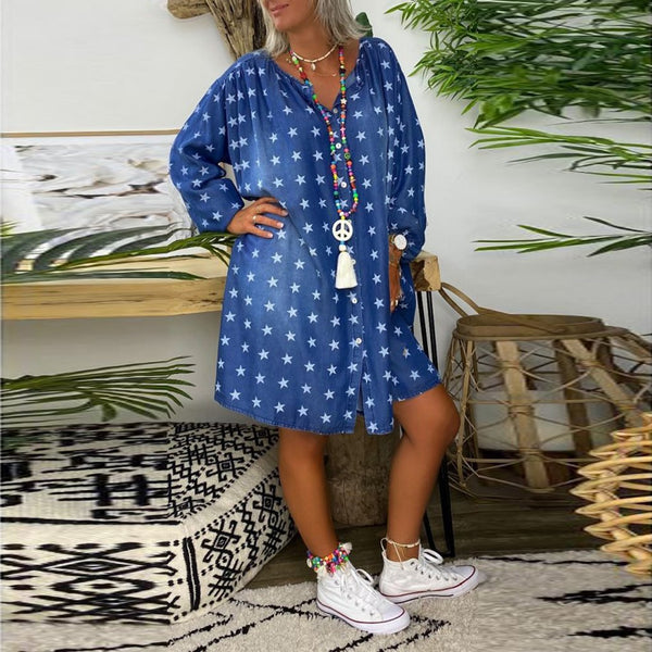 Round neck star printed long sleeve denim dress