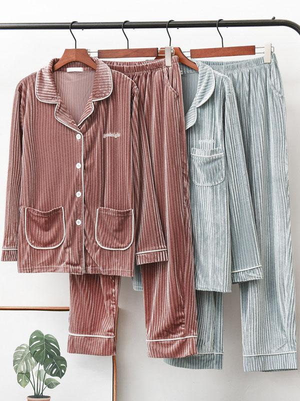 Flannelette men/woman retro pajamas suit