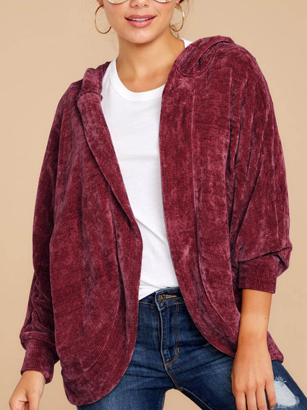 Thicken plain loose velvet coat with hat