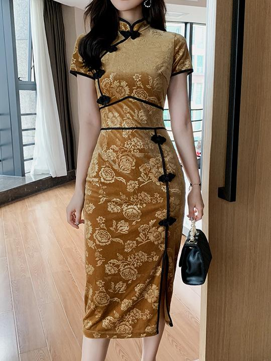 Chinese style women  flannelette embossed flower pattern dress