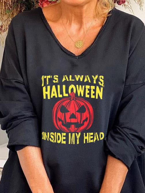 Halloween v neck  loose letter printed long sleeve top
