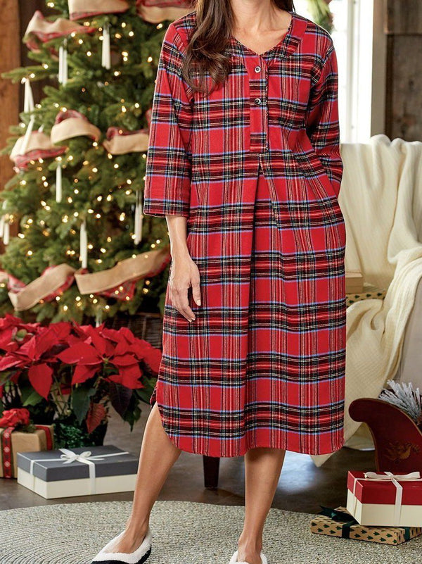 V-neck plaid medium length women night skirt