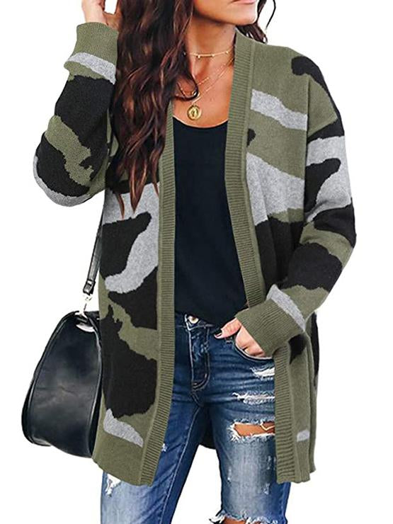 2020 camouflage printed loose knit cardigan coat