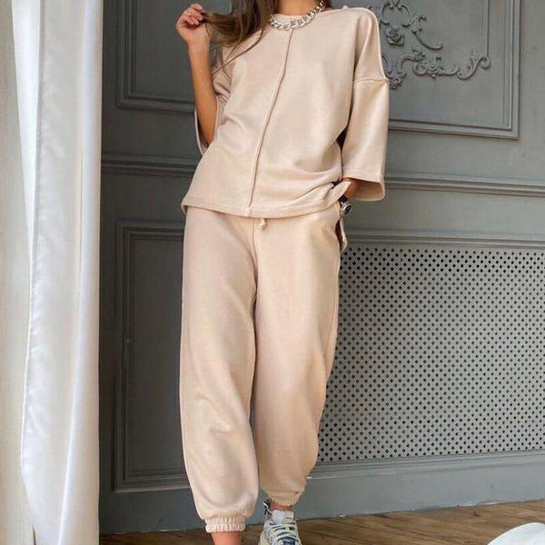 Casual comfortable women top&lace-up pants set