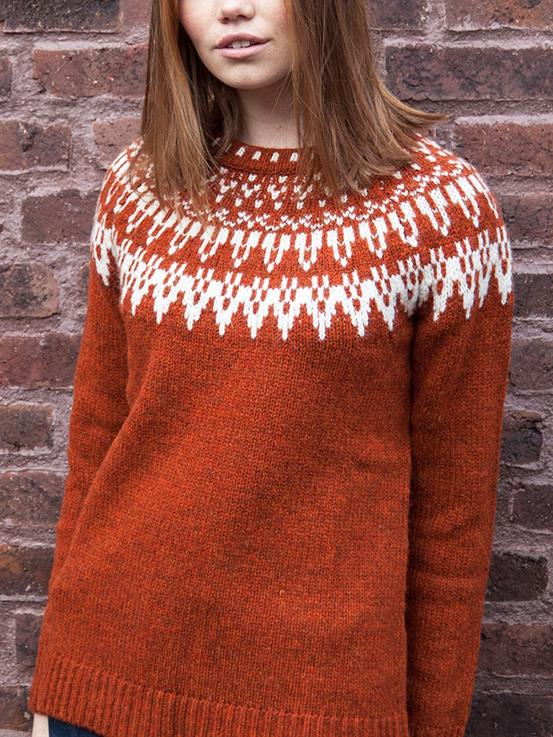 Red daily round neck sweater