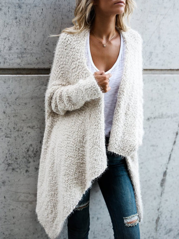 Asymmetrical plian loose keep warm fleece cardigan coat