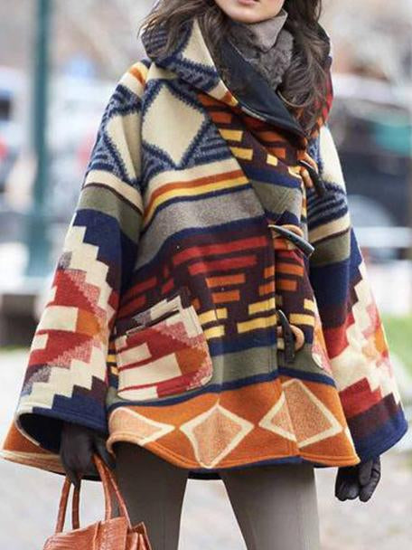 New striped print hoodie faux woolen coat