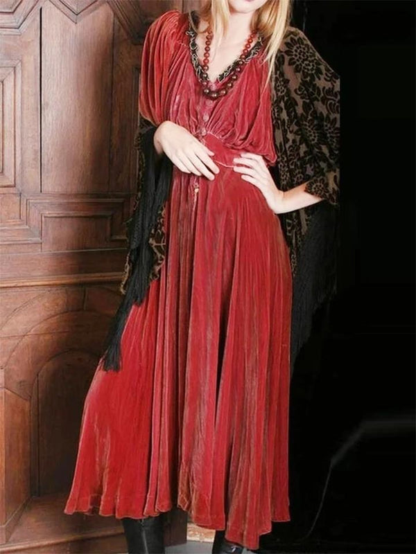 Women'S Retro Velvet Long Sleeve Dress