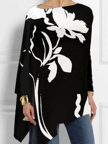 Black floral printed loose long sleeve shirt