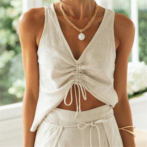 Sleeveless v neck women summer drawstring casual suit