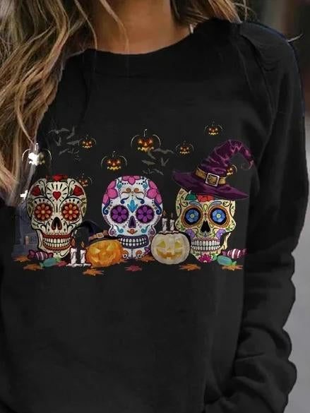 Halloween  Colorful skull printed long sleeve hoodie