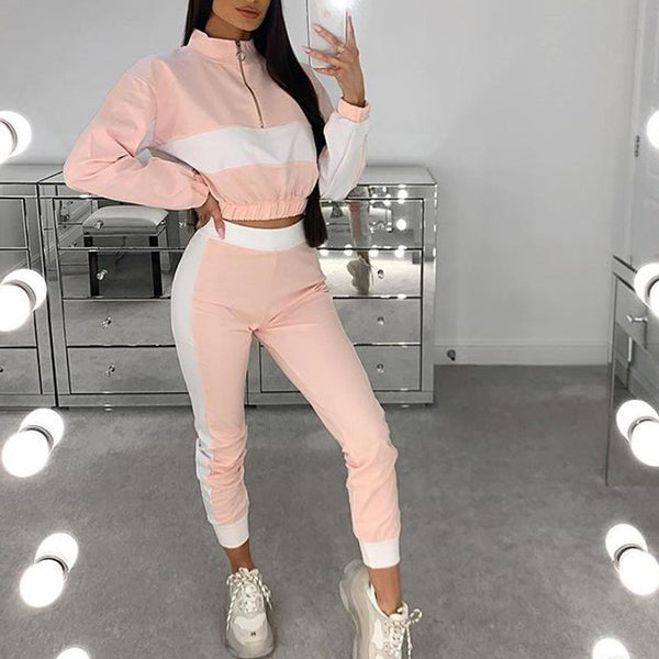 Color block women fashion zipper top&pants set