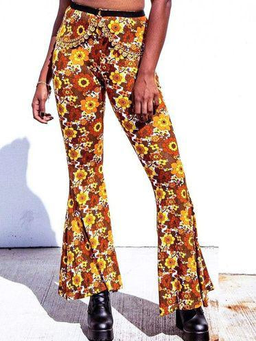 Fashion floral printed slim flared pants