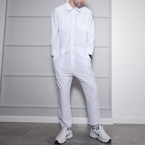 White man lapel long sleeve jumpsuit